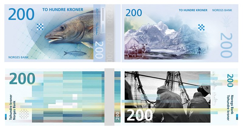 Top: The Metric System's proposed 200 krone note. Bottom: Snøhetta's proposed 200 krone note.