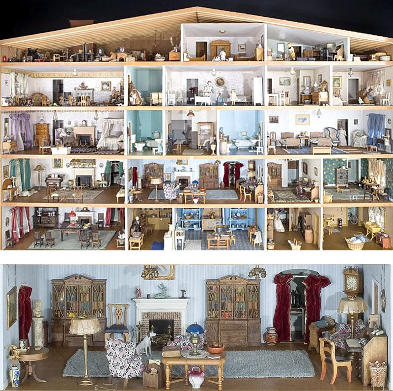 An overview of Bradford's dollhouse house and and close-up detail
