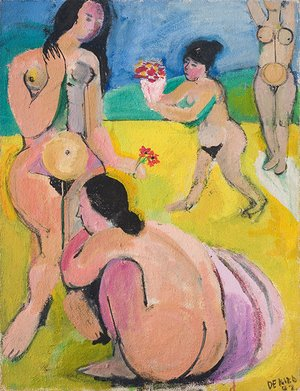 <em>Figures on a Yellow and Blue Background</em>, 1942