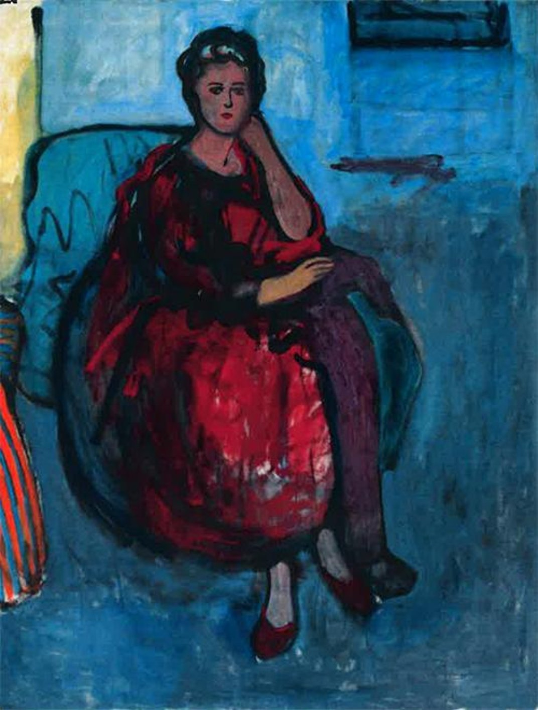 <em>Woman in Red</em>, 1961. Oil on linen, 70 x 54 inches