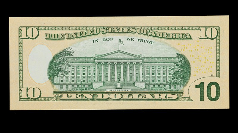 Ten-dollar note, United States of America, c. 2013, depicting the U.S. Treasury building