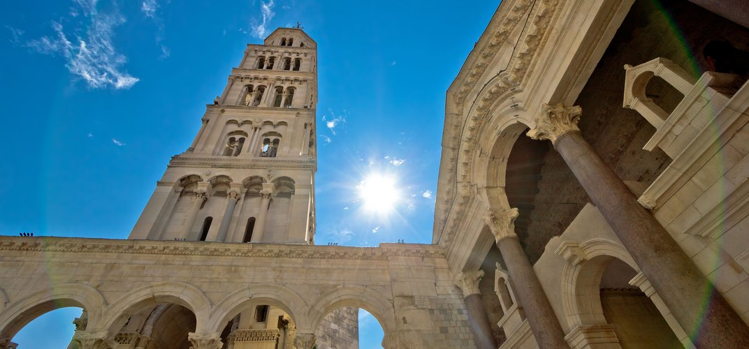 Remains of Diocletian's Palace and the cathedral tower in Split