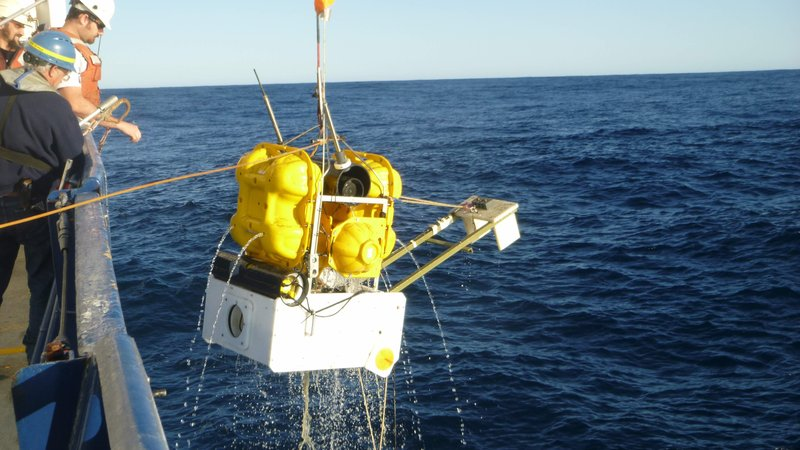 Researchers retrieve a suite of underwater sensors that had been monitoring slow slip off the coast of New Zealand.