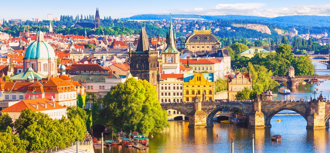 Prague and the Vltava River and historic Charles Bridge