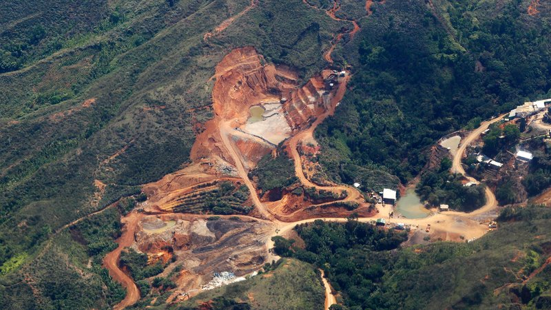 Ecological damage caused by illegal gold mining in a rural area of Santander de Quilichao, in the department of Cauca February 13, 2015. The mines are reported to be controlled by illegal armed groups.