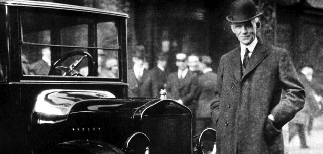 Henry Ford (with a Model T in Buffalo, New York, in 1921)