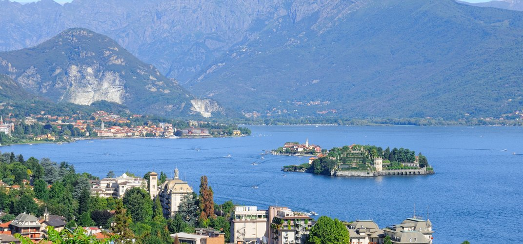 View of Stresa and islands on Lake Maggiore