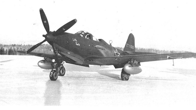 A Soviet Bell P-63 in Fairbanks, Alaska, in 1944, ready for the long trip.