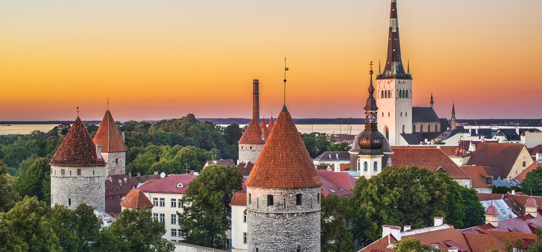 The turrets and spires of Tallinn's Old Town, a World Heritage site, in Estonia