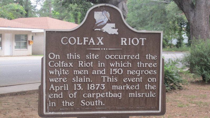 The plaque installed at the site of the Colfax Massacre in 1951.