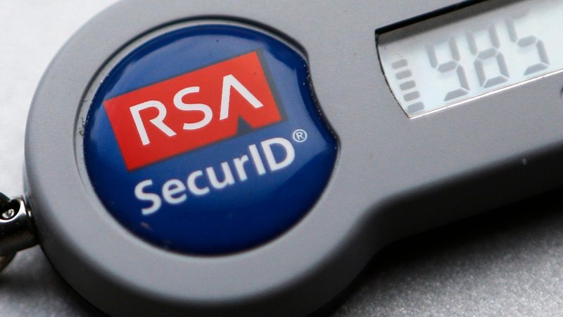 An RSA SecurID device for encrypting data. RSA is an algorithm based on public key encryption.
