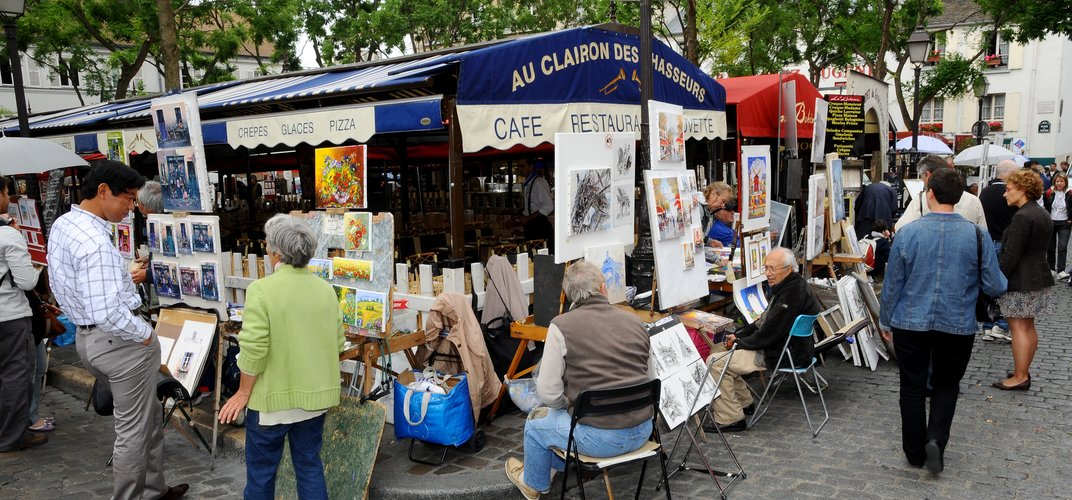 Typical artist square in Montmartre