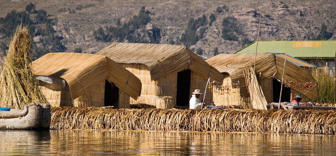 The floating island of Los Uros on Lake Titicaca