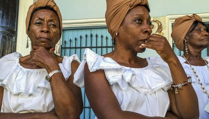 Cuban women in traditional dress