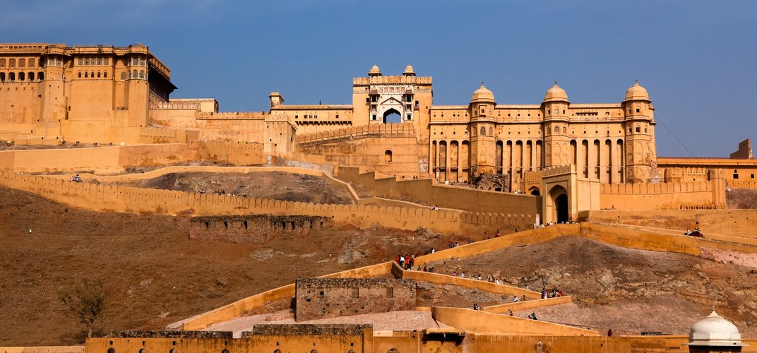 Amber Palace, perched on the hill in Jaipur