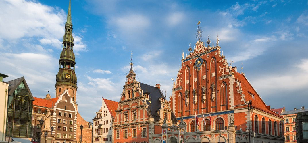 A main square in Riga, Latvia, with the House of the Blackheads