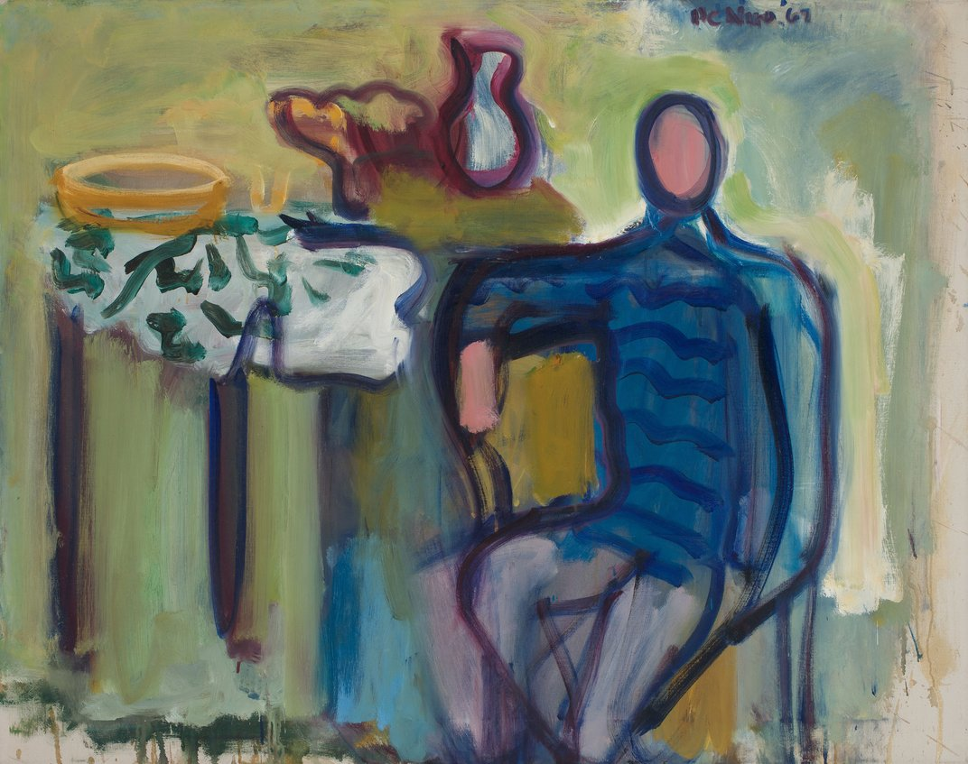 <em>Man in Blue Sweater</em>, 1967. Oil on linen, 38 x 48 inches