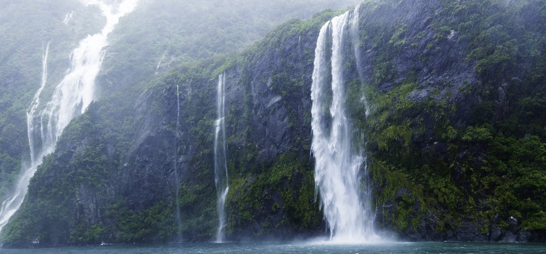 Waterfalls in Fiordland National Park