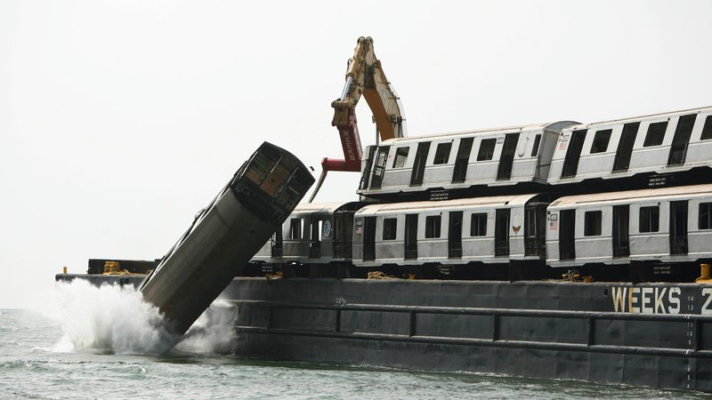 Old subway cars have been used as habitats in the Atlantic Ocean.