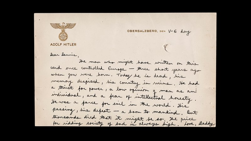 As World War II ended in Europe, future CIA director Richard Helms found distinctive stationery to write a letter home to his young son.