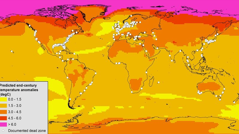 This map of known dead zones (white dots) shows how much annual air temperatures are expected to change by 2080-2099 compared with 1980-1999.