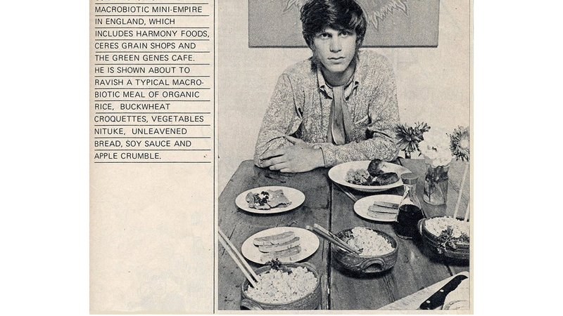 Gregory Sams poses in SEED restaurant for an an article in Fiesta magazine in 1971.