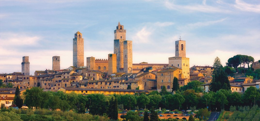 The hill town of San Gimignano, featuring its many medieval towers