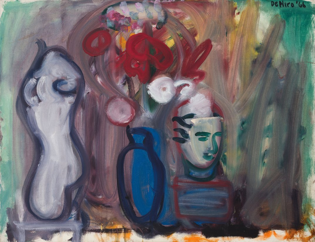 <em>Flowers in a Blue Vase</em>, 1966. Oil on canvas, 28 x 36 inches