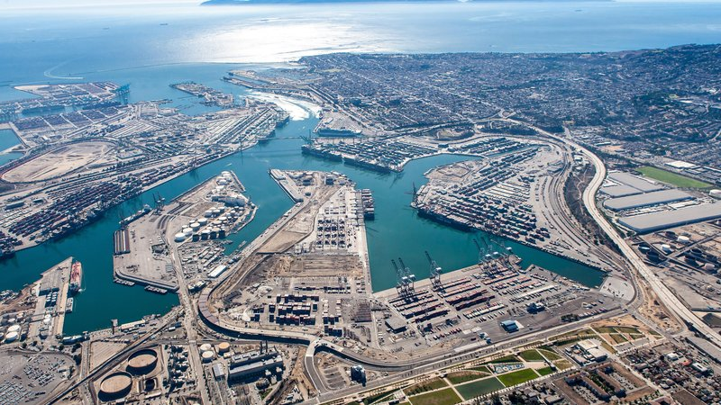 An aerial view of the Port of Los Angeles shows how massive the port really is--and what an effort it is to clean it up.
