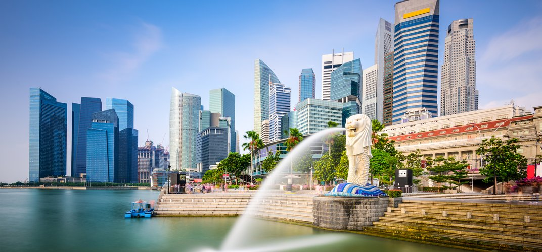 Cityscape of Singapore with the Merlion Statue