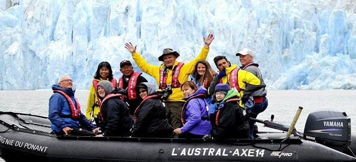 Smithsonian travelers observing the Arctic-blue glaciers and spectacular scenery of Alaska