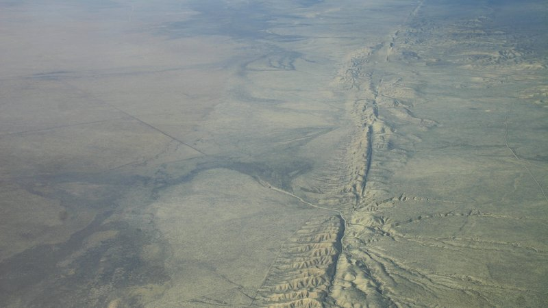 From the air, the San Andreas fault can be clearly seen where it crosses the Carrizo Plain in California.