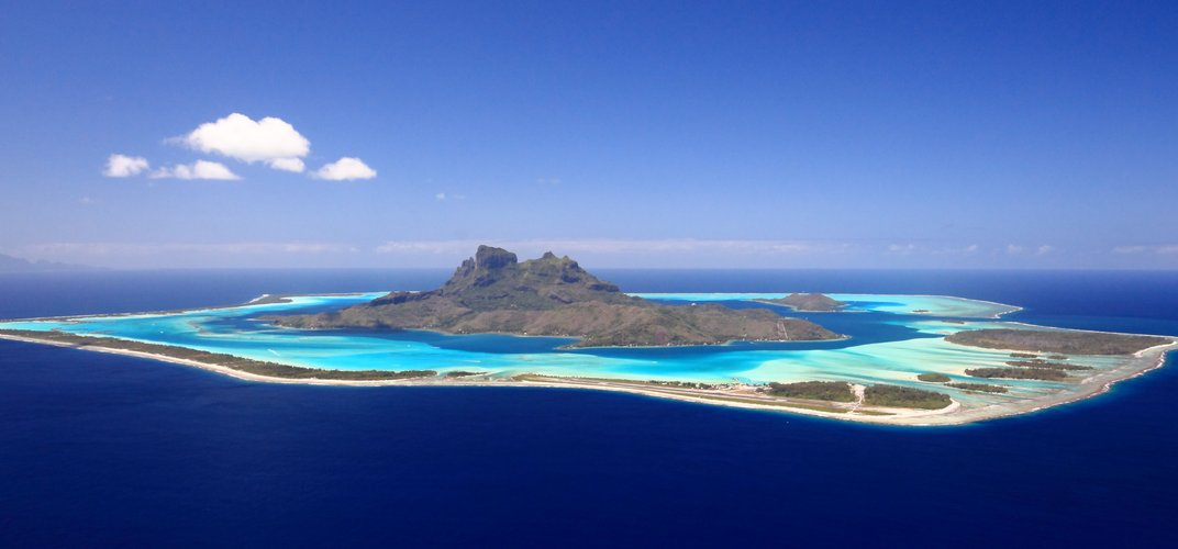 Dramatic aerial view of Bora Bora in the Society Islands