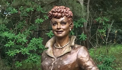 """""""New Lucy"""" Is Unveiled Nearby """"Scary Lucy"""" in Lucille Ball's Hometown"""