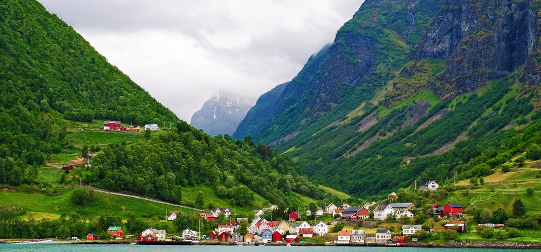 Typical village along the Sognefjord
