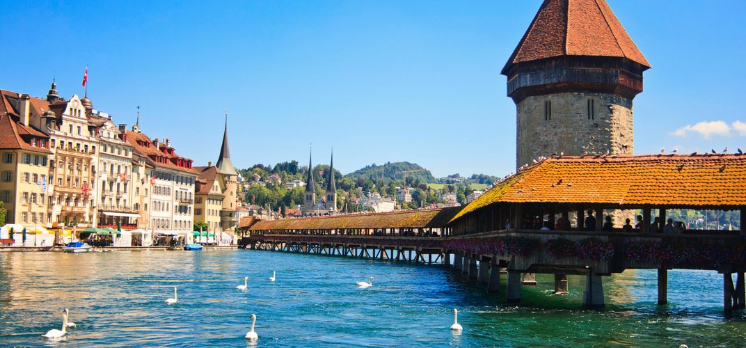 The charming Swiss town of Lucerne with its famous bridge