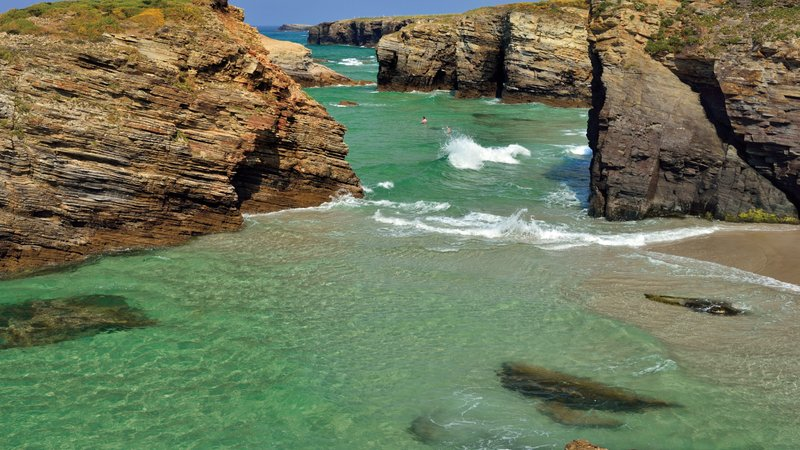 Growing tide at Cathedral Beach in Galicia, Spain.