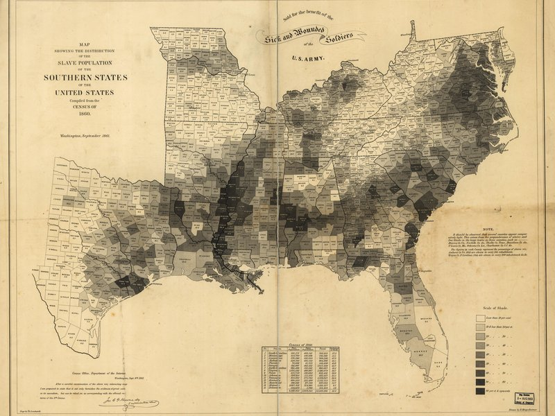 1860 American South slave population map
