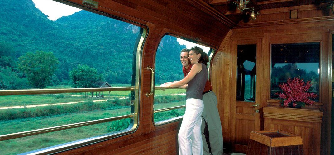 Enjoying the scenery of Thailand from the <i>Eastern & Oriental Express</i> observation car