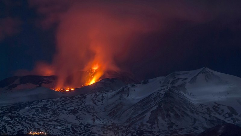 Mt. Etna spews lava during the early hours of Thursday, March 16, 2017