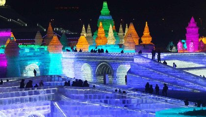 This Ice Festival in China Is a Rainbow-Colored Dream