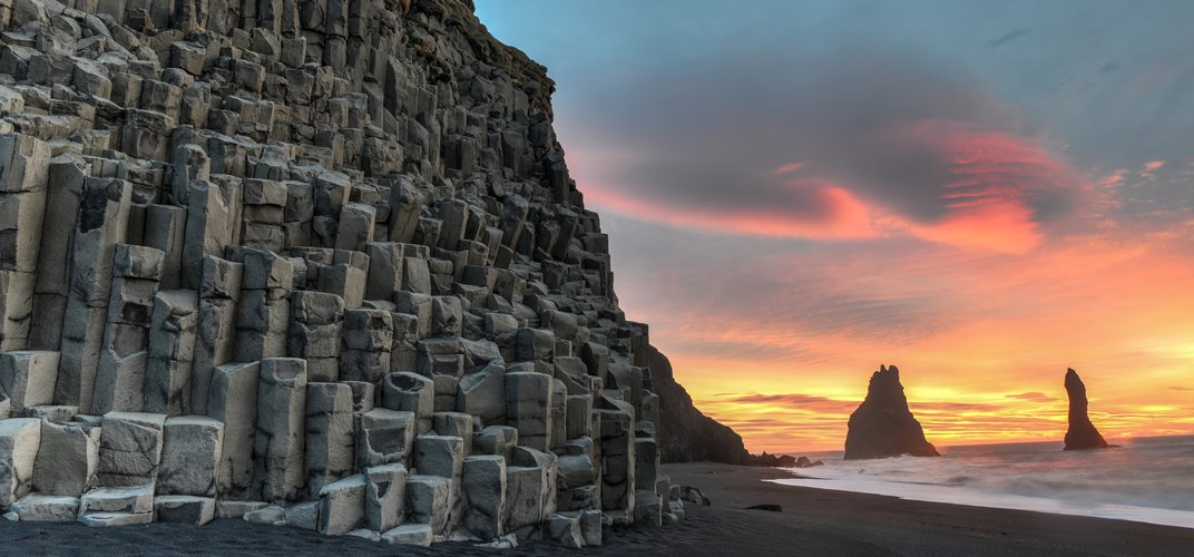 Black sand beach and basalt columns at Reynisdrangar, near Vik