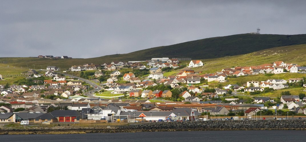 The town of Lerwick, capital of the Shetland Islands