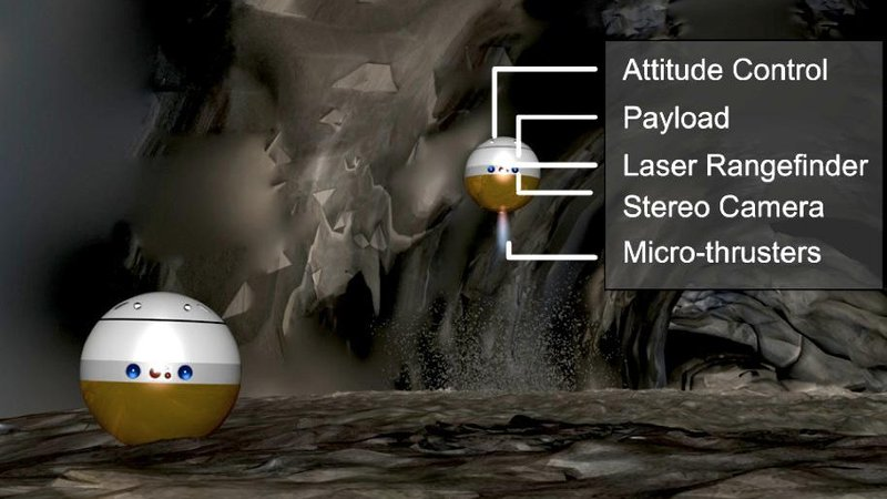 "The proposed ""pitbot"" is a spherical, flying robot drone designed to explore possible lava caves on the Moon."