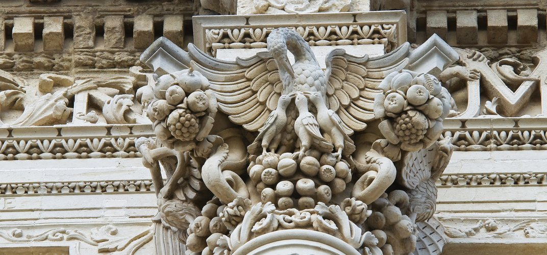 Detail of the ornate sandstone carving of Lecce's <i>barocco leccese</i> style