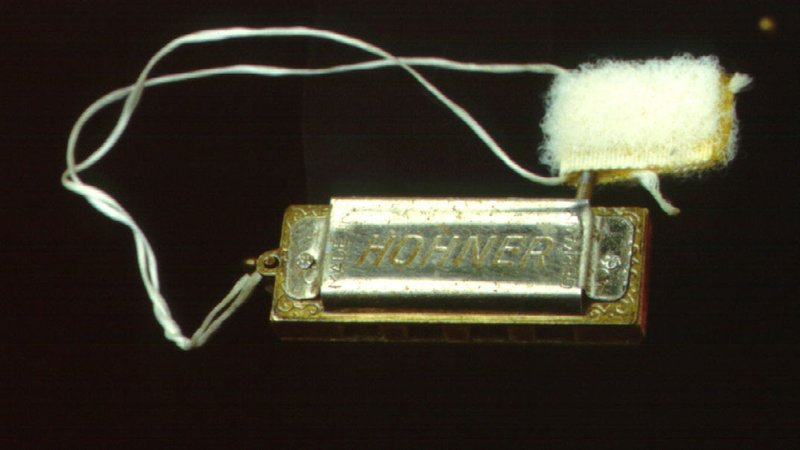 The bells and the Hohner harmonica, played in space, are on view in the museum's exhibition