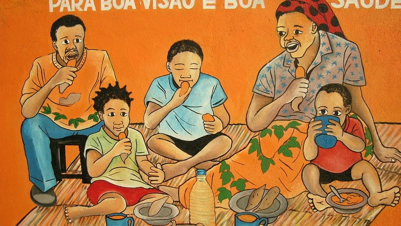 A mural that is part of the education campaign about sweet potatoes led by Maria Andrade, one of the prize winners.