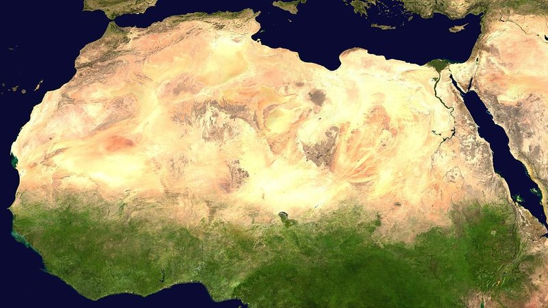 Seen via satellite, the Sahara in North Africa covers an area nearly as large as China.