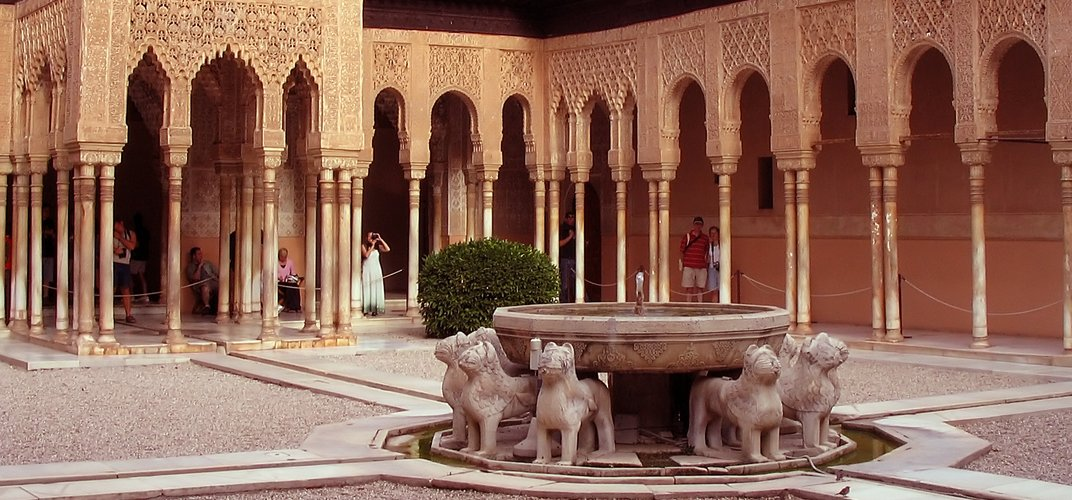The Court of the Lions at the Alhambra, Granada