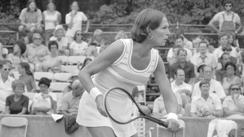 Renee Richards (here in 1976 at age 42), one of America's most pioneering athletes of the 20th century, recently donated one of her tennis rackets to the Smithsonian.